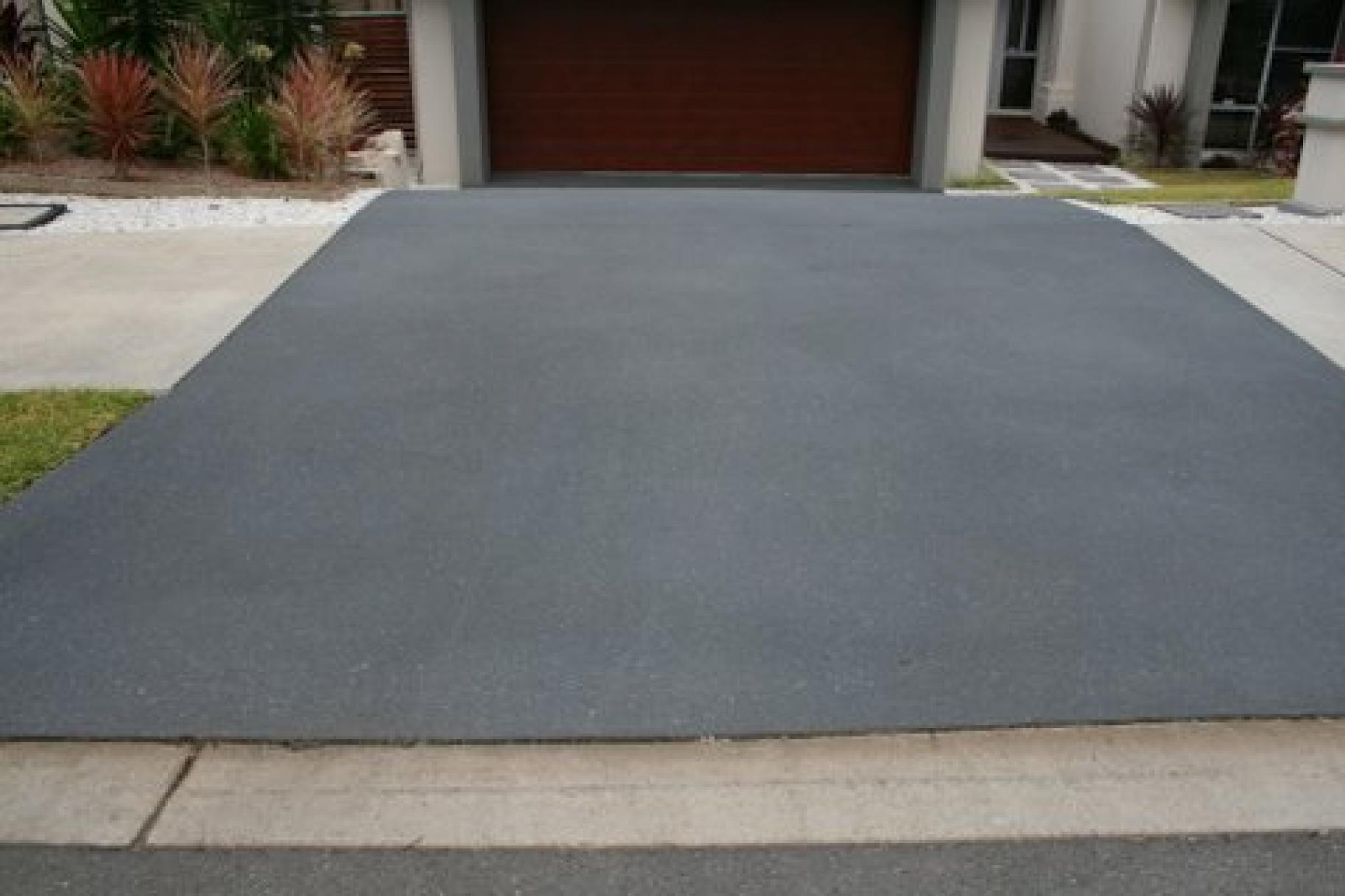 Gray Stamped Concrete Driveway